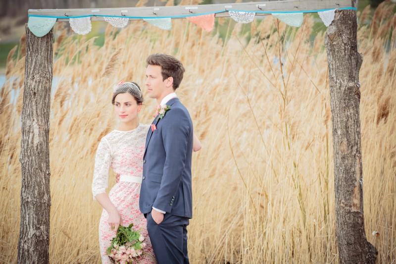 Schleifenfänger Vintage Brautkleid