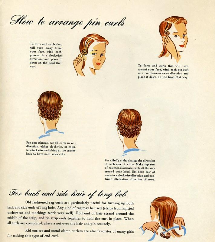 Pin Curls Curly 1940s hair einfache 40er Jahre Frisur